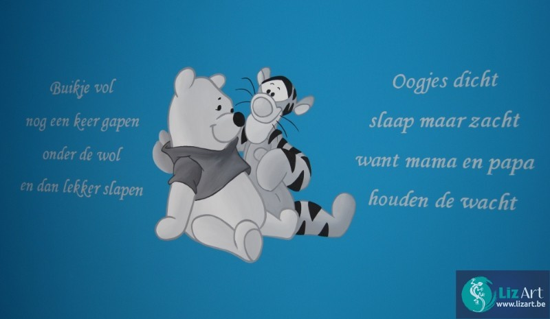 Genoeg wandschildering-pooh-en-teigetje-gedicht - Lizart &DF64