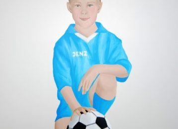 Wandschildering portret voetballertje