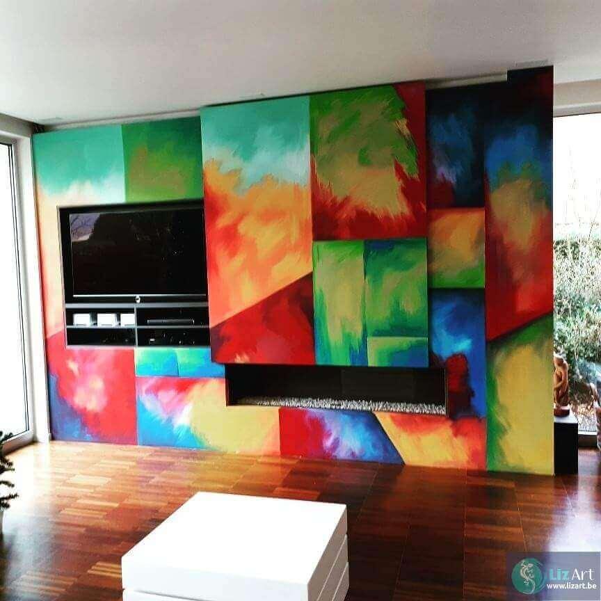 Abstract schilderij decoratie TV-meubel