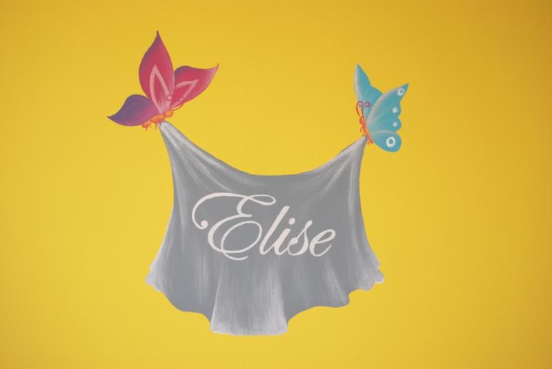 Muurschildering vlinders die de naam op een doek dragen