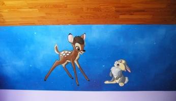 muurschildering-bambi-stampertje-samen